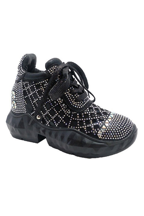 Thick Sole Sneaker with Rhinestones