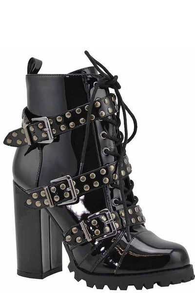 Military Ankle Boot with Belts and Studs