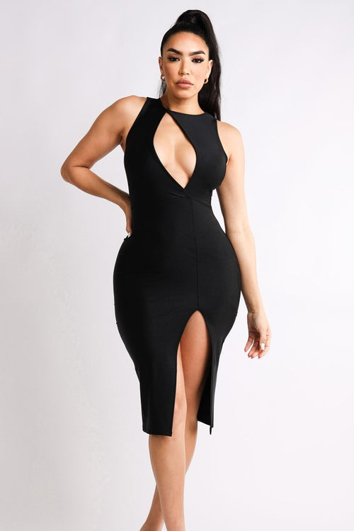 Front Peekaboo Sleeveless Front Slit Skirt Dress