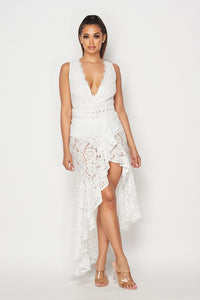 High-Low Lace Dress with Belt