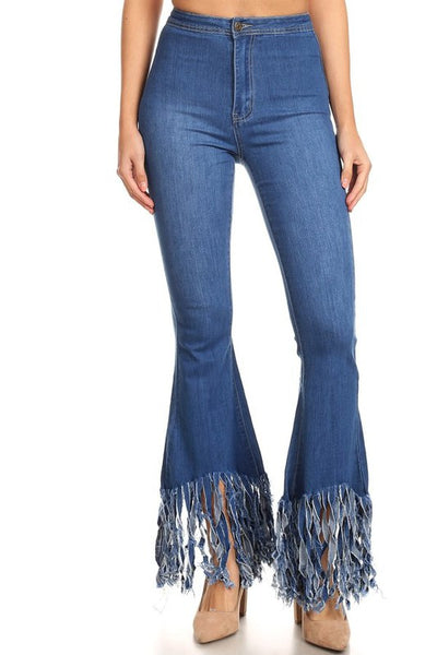 High Waist Fringed Bell Bottom Jean