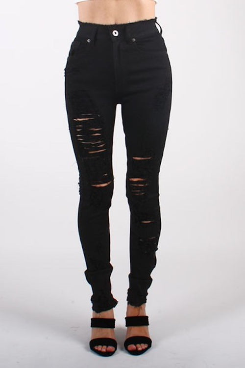 Destroyed Skinny Jean with Fringe Waist