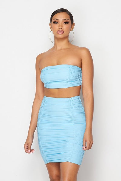 Gathered Sleeveless Crop Top & Skirt Set