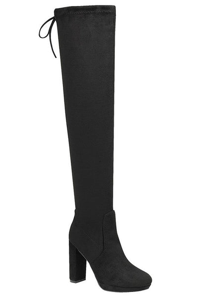 Black Knee High Chunky Heel Boot