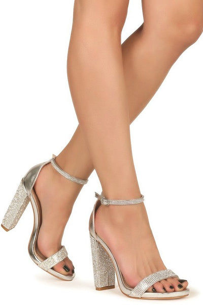Open Toe Chunky Heel with Rhinestone Accent