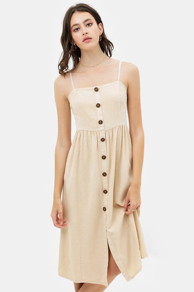 Spaghetti Strap Button Up Dress