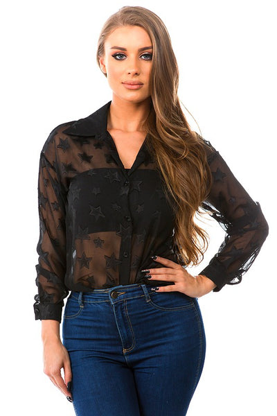 Star Printed Button Up Top