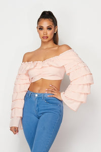 Layered Sleeve Off Shoulder Top