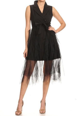 Short Dress with Ruffle Train