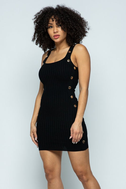 Ribbed Tank Dress with Buttons