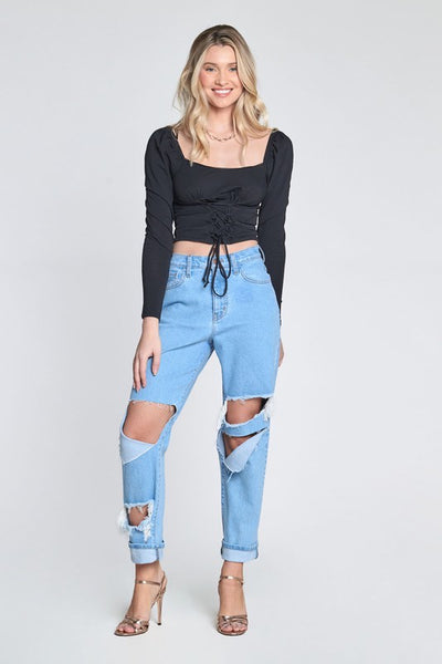 Super Destroyed Boyfriend Jeans with Cuffed Ankle