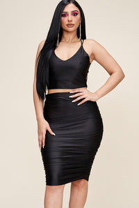 Satin Crop Top & Ruched Skirt Set