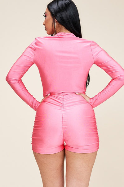 Low Cut Long Sleeve Ruched Romper