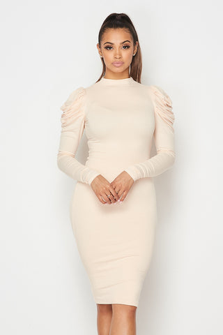 Puff Sleeve Ribbed Dress