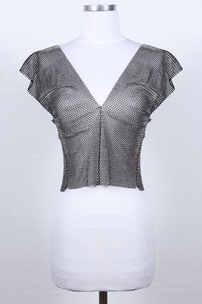 Rhinestone V Neck Top