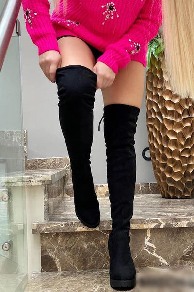 Thigh High Boots With Chunky Heel