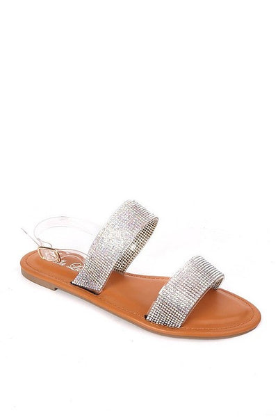 Glitter Ankle Strap Flat Sandals