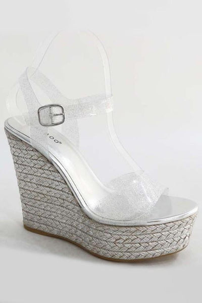 Braided Wedge with Clear Strap