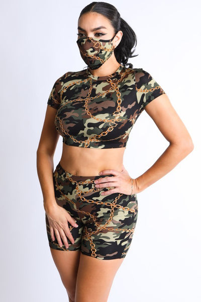 Chained Camo Cropped Top & Biker Short with Mask Set