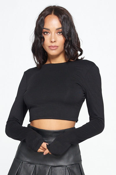 Long Sleeve Open Back Crop Top