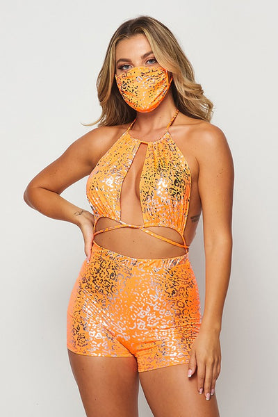 Wild One Tie Around Waist Romper with Mask