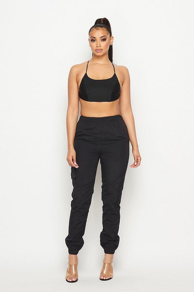 Tie Back Crop Top and Jogger Set