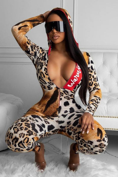 Animal Print Hoody Jumpsuit