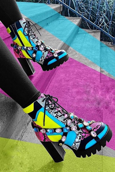 MultiColor Snakeskin Ankle Bootie with Rhinestones