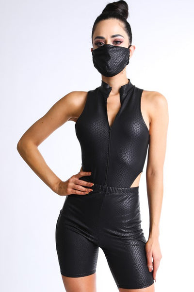 Foiled Venezia Zip Up Bodysuit with Biker Short & Mask
