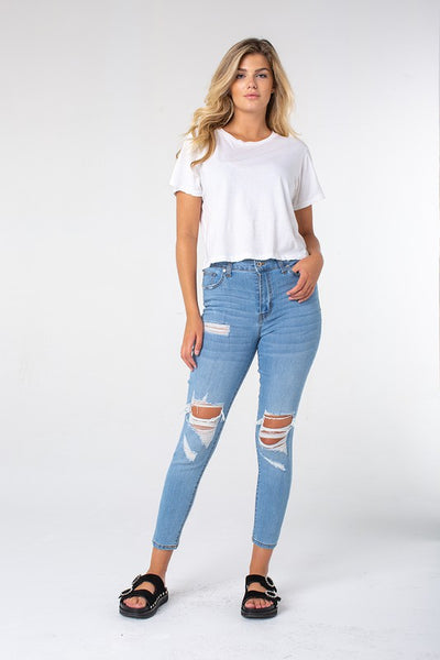X-High Rise Ankle Skinny Jeans with Back Darts