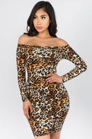Leopard Off Shoulder Cross Back Mini Dress