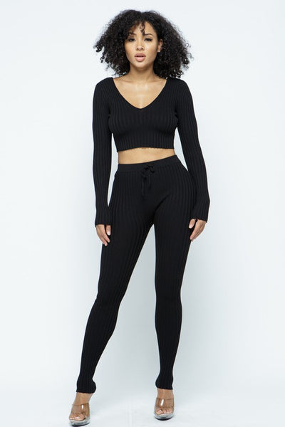 Long Sleeve V Neck Ribbed Legging Set