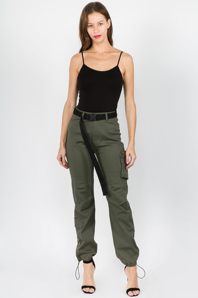 High Rise Cargo Jogger with Belt