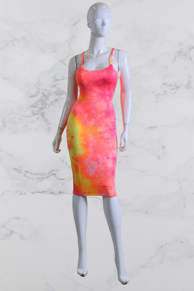 Spaghetti Tie Dye Midi Dress