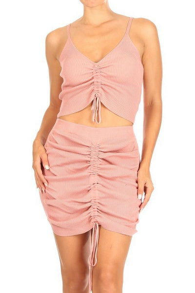 Ribbed and Ruched Crop Top and Skirt Set