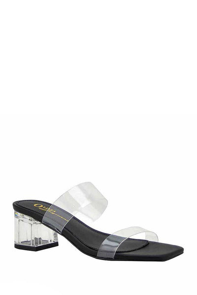 Block Heel Clear Band Mules