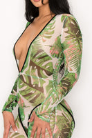 Tropical Print Chiffon Jumpsuit
