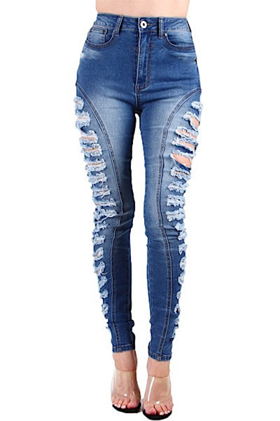 High Waist Side Ripped Jean