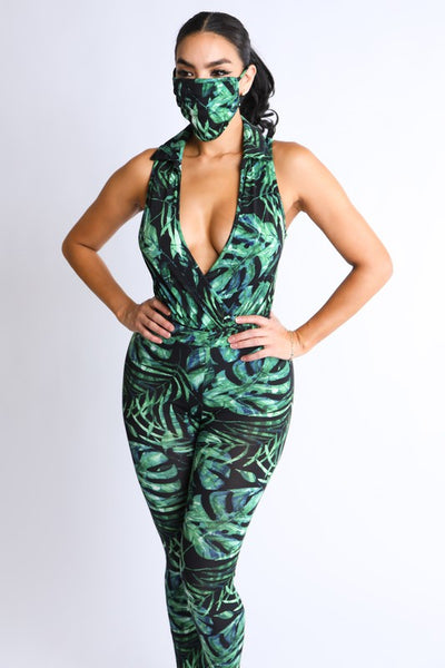 Tropical Print Pants Set with Mask