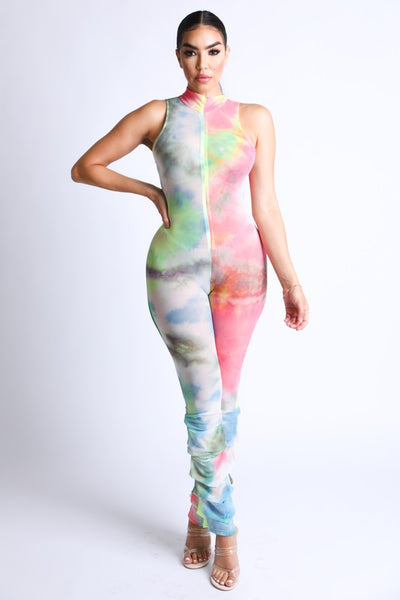 Tie Dye Mesh Zip Up Ruched Leg Jumpsuit