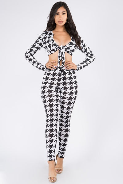 Long Sleeve Checkered Tie Crop Top & Legging Set