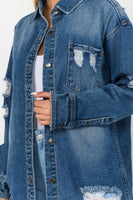 Destroyed Long Button Up Denim Jacket