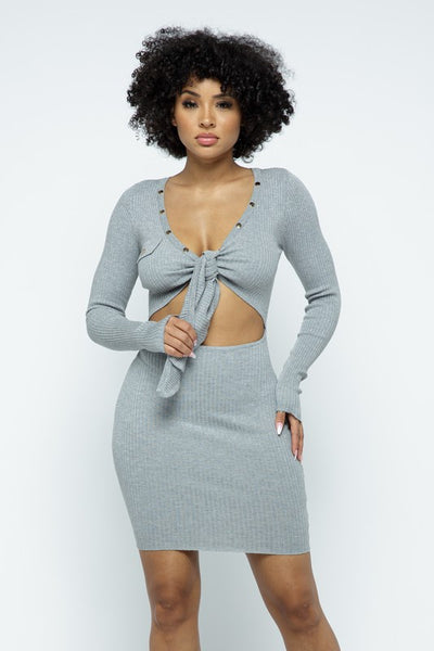 Tie Front Long Sleeve Dress