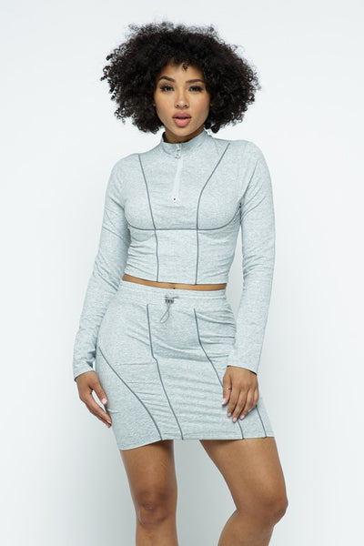 Front Zipper Crop Top and Skirt Set with Reflective Piping Details
