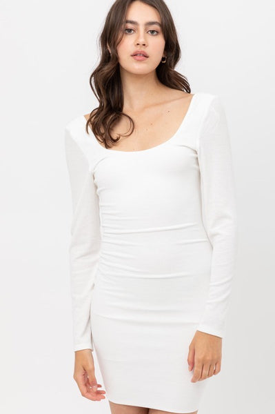 Long Sleeve U Neck Dress