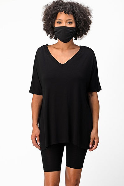 Open Side V-Neck Blouse & Shorts Set with Mask
