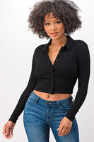 Ribbed Collared Long Sleeve Knitted Crop Top with Buttons