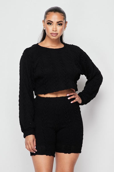 Knitted Sweater & Biker Short Set