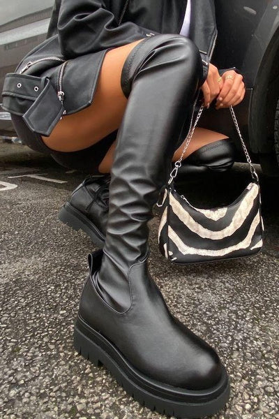 Chunky Sole Thigh High Biker Boot