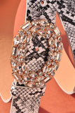 Side Oval Gemstone Buckle Snake Belt